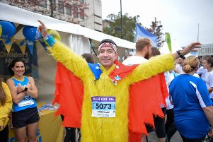 fundraiser: Fabian Cruz has raised around �30,000 by running races dressed as a chicken. 'picture: Anthony Oxley