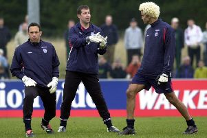 Goalkeepers Richard Wright, Nigel Martyn and David James before the England v Italy friendly ar Elland Road in March 2002