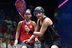 Jenny Duncalf, left, in action during the women's doubles quarter-finals against New Zealand's Amanda Landers-Murphy. Picture: World Squash Federation.