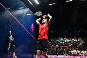 MAGIC MOMENT: James Willstrop celebrates winning Commonwealth Games gold against Paul Coll. Picture: World Squash Federation/Toni van der Kreek.