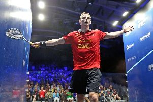 BLASTING THROUGH: Nick Matthew celebrates his British Open first round win over fifth seed Tarek Momen in Hull. Picture courtesy of PSA.