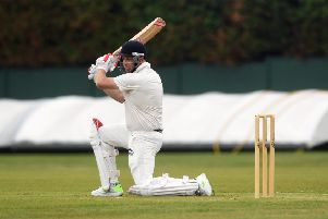 Top scorer: 'Hanging Heaton's Nick Connolly hits four runs in his 35 but they still lost to Pudsey St Lawrence. Picture: Jonathan Gawthorpe