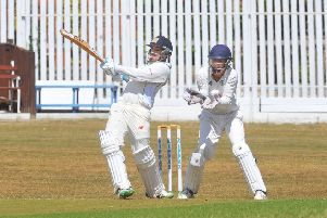 Leading the way: Wrenthorpe's Luke Patel on his way to 78 with a boundary in the victory over Gomersal. Picture: Steve Riding