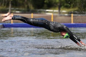 Leeds's Alistair Brownlee pictured at the start of the men's triathlon at the European Championships at Strathclyde Country Park (Picture: John Walton/PA Wire).