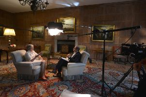 Theresa May during her TV interview with the BBC's Nick Robinson.