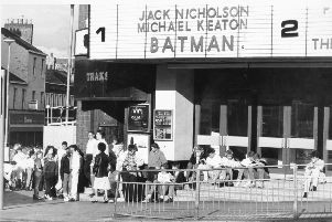 Queues outside the Cannon to see one of the top films of the summer of 1989 - Batman, featuring Michael Keaton and Jack Nicholson.