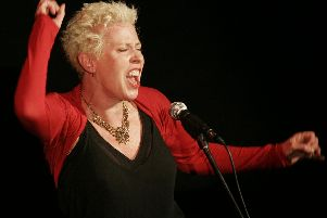 Hazel O'Connor on stage. Hazel is embarking on another run of shows - screenings of a digitally-remastered uncut version of breakthrough film, Breaking Glass, followed by a Q&A, and a live band performance