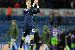 Will Huffer at the end of his debut for Leeds United as he kept a clean sheet against Bristol City.