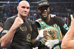 Best of enemies: Deontay Wilder and Tyson Fury after the fight.