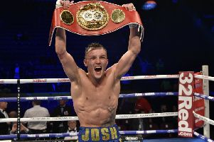 STLL KING OF THE WORLD: 'Josh Warrington celebrates his win over Carl Frampton on Saturday in Manchester. Picture: Steve Riding.