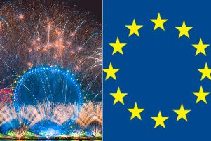 Was a giant EU flag hidden in the London New Year's Eve fireworks? Photo: SWNS