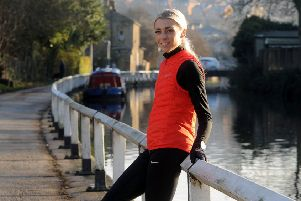 Alexandra Bell training by the Leeds Liverpool canal at Apperley Bridge.  Picture Tony Johnson.