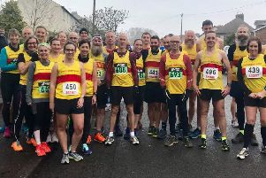 Athletes from North Derbyshire Running Club line up for the Queen's Head 5K race in Belper.