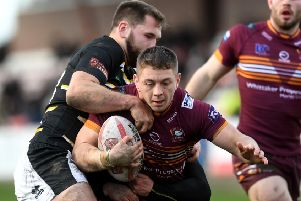 Yorkshire Cup semi final.Batley's Alistair Leak is tackled by York's Jason Bass and William Jubb. ('Picture: Jonathan Gawthorpe')