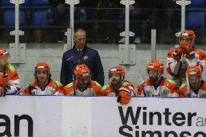 BAD WEEKEND: A glum-looking head coach Tom Barrasso on the Sheffield Steelers bench during his side's 6-1 defeat at Dundee Stars.''Picture courtesy of Derek Black/EIHL