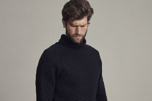 Brody raglan sweater in Navy, �235, by Archie Foal.