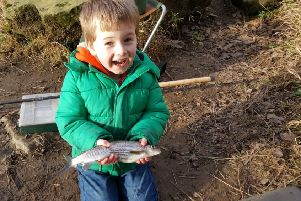 A 40-year-old rod, a 20-year-old reel, a 10-year-old stickfloat and a stunning grayling all mastered by three-year-old Harry Poole.