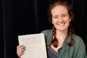 Rosie Mills with the petition