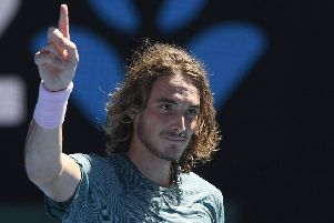 Greece's Stefanos Tsitsipas celebrates after defeating Spain's Roberto Bautista Agut. Picture: AP/Andy Brownbill