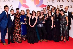 The cast of Emmerdale with the award for best Serial Drama in the Press Room at the National Television Awards 2019 held at the O2 Arena, London. Ian West/PA Wire