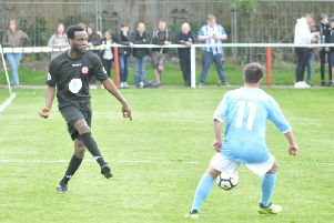 Pascal Chimbonda in action for the legends game at Ashton Town last year