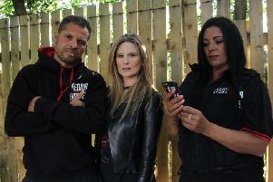 Leeds-based Predator Exposure are one of the groups featured in the documentary by journalist Livvy Haydock (centre)