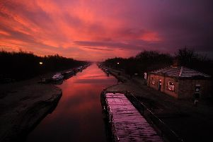 The Aire and Calder Navigation at sunrise.