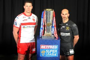 Captains gather for the Betfred Super League launch at Old Trafford, Joel Tomkins (Hull KR) and Danny Houghton (Hull FC),  Picture Tony Johnson.