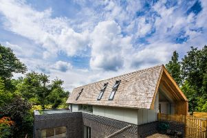 The wraparound roof is one of Jo and Gail's favourite features. The overhang gives shelter and protection for the building.