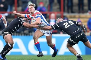 Wakefield Trinity captain Jacob Miller in action against Hull FC in pre-season.