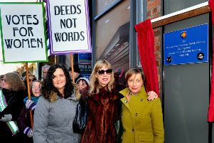 Juliet Forster of York Theatre Royal, Prof Krista Cowman  historical advisor, and Bridget Foreman,  writer of 'Everything is Possible', unveil a plaque on Coney Street in York