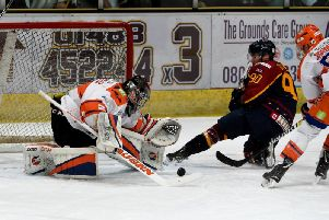 MAIN MAN: Jackson Whistle gets down low to keep out the Guildford Flames. Picture: John Uwins/EIHL.