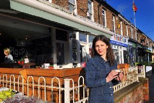 Julia Holding who owns The Pig and Pastry cafe on Bishopthorpe Road in York with her husband Steve. Bishopthorpe Road was named Britain's Best High Street in a competition run by the Department for Communities and Local Government in 2015. Picture by Gary Longbottom.
