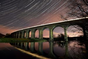 Star Trails over Arthington Viaduct in Whafedale as a train passes.