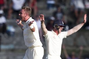 England's Stuart Broad appeals unsuccessfully for the wicket of West Indies' John Campbell (Picture: Ricardo Mazalan/AP).