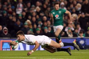 England's Henry Slade scores his side's fourth try.