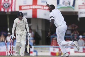 West Indies' captain Jason Holder celebrates after he bowled Yorkshire and England's Jonny Bairstow during the hosts' 10-wicket win.