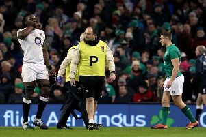 England's Maro Itoje leaves the pitch with an injury during the Six Nations win over Ireland at the Aviva Stadium, Dublin (Picture: Brian Lawless/PA Wire).