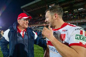 Hull KR boss Tim Sheens, left, with Danny McGuire after Friday's derby win v Hull FC. (SWPix)