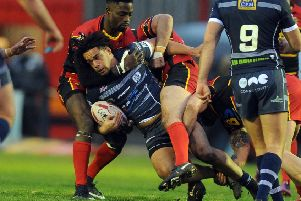 Josh Walters in action for Featherstone Rovers.