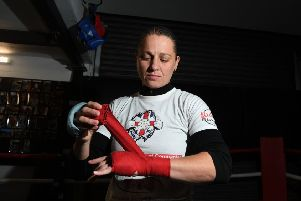 Ready for the challenge: Sam Smith training at her gym in Crossgates ahead of her European title fight. 'Picture: Jonathan Gawthorpe