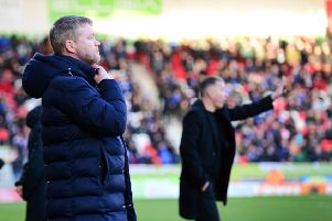 Doncaster Rovers' manager Grant McCann, left, with Peterborough and former Rovers boss Darren Ferguson (Picture: Marie Caley).
