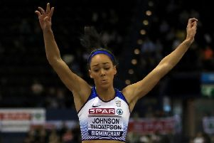 Katarina Johnson-Thompson in action during the Women's Long Jump during day two of the SPAR British Athletic Indoor Championships at Arena Birmingham. Picture: Simon Cooper/PA
