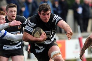 No 8 Jack Scott-Paul scored an early try for Otley against Sheffield Tigers. Picture by Simon Hulme