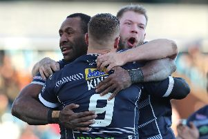 Cameron King is congratulated after scoring his second try in as many matches. PIC: Ash Allen/SWpix.com.