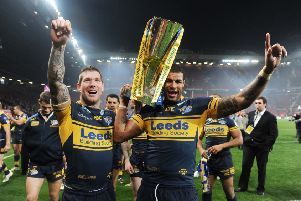 GOOD TIMES: Ryan Bailey, right, and Leeds Rhinos' team-mate Brett Delaney celebrate winning the 2012 Grand Final at Old Trafford against Warrington. Picture: Steve Riding.