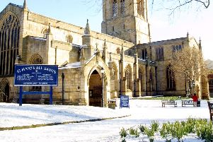 Chesterfield St Mary & All Saints covered with a dusting of snow in February 2004.