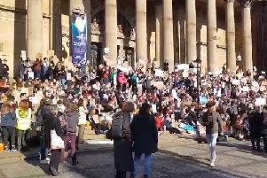 The Youth Strike 4 Climate action outside Leeds Town Hall. Picture by Richard Beecham.