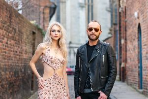 THE FACES OF YORK FASHION WEEK: Fashion designer Scott Henshall with model Charlie Cowap wearing his archive collection for York Fashion Week 2019. Picture: Olivia Brabbs Hair & Make-up & Scott's grooming, Sonia Schofield
