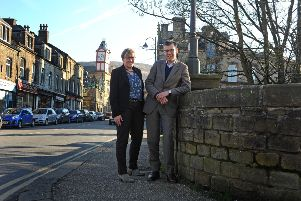 Helen Noble, chief executive of Pennine Prospects, with Julian Glover, ar Marsden, near Huddersfield. Picture: Tony Johnson